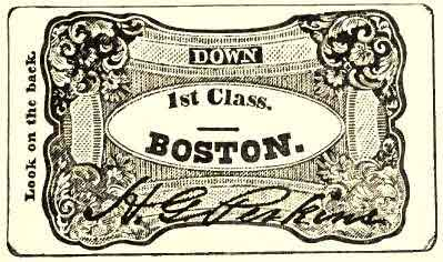 Old Boston & Worcester Railway Ticket (about 1837)