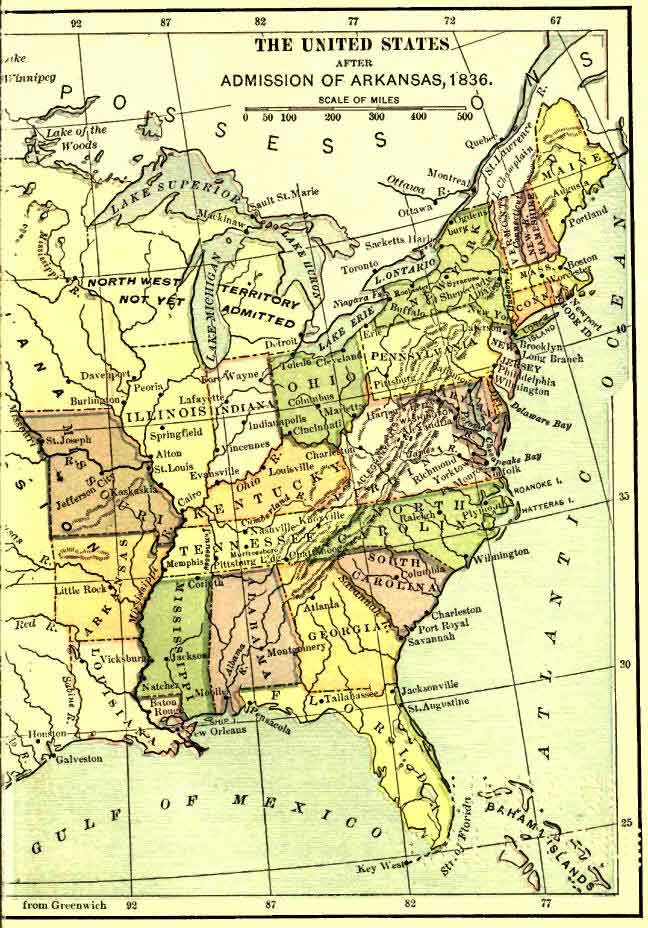 Eastern United States After the Admission of Arkansas, 1836