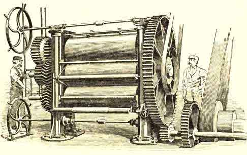 Calendars heated internally by Steam, for spreading India Rubber into Sheets or upon Cloth, called the Chaffee Machine