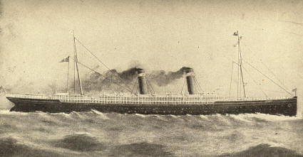 The American Line Steamship St. Louis, launched from the Cramps Docks, November 12. 1894.  (554 feet long 11,000 tons, and 20,000 horse-power.)