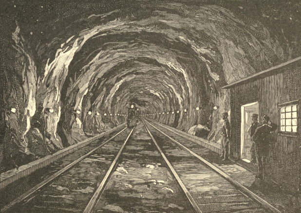 The Hoosac Tunnel Lit by Glow Lamps, after the Plan of the Marr Construction Company