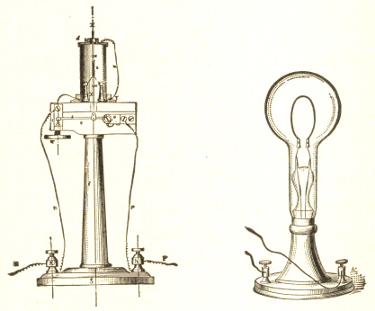 Edisons Platinum Lamp on Carbon Support, 1879. Edisons Paper Carbon Lamp