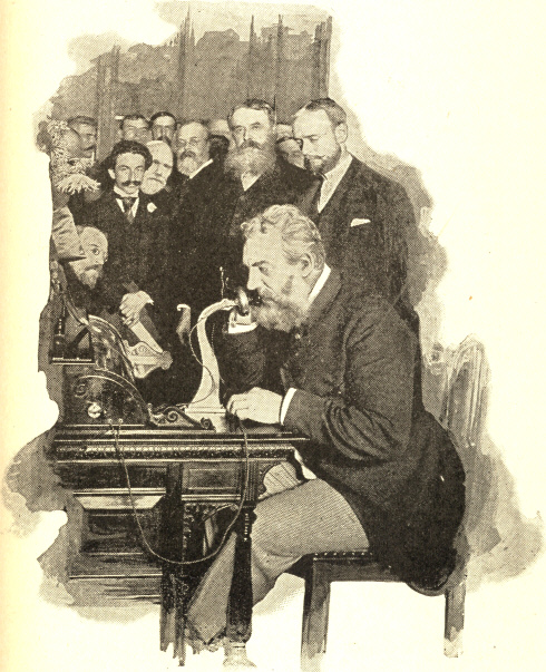 Professor Bell Sending the First Message by Long-distance Telephone, from New York to Chicago